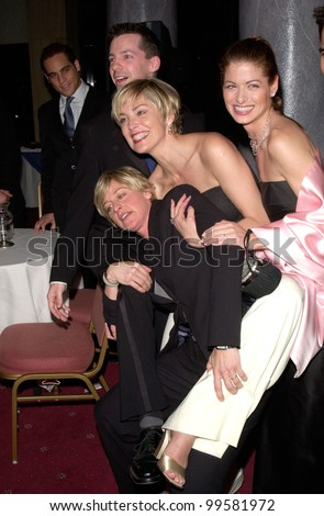 19FEB2000:  ELLEN DEGENERES (left), SHARON STONE & DEBRA MESSING with SEAN HAYES at the Human Rights Campaign Gala, in Los Angeles.                                    Paul Smith / Featureflash