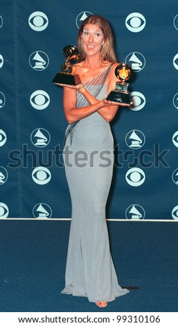 24FEB99: Singer CELINE DION at the 41st Annual Grammy Awards in Los Angeles.  Paul Smith / Featureflash - stock photo