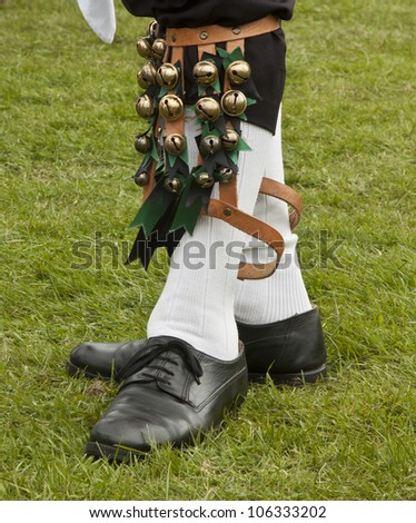 Feet of an English Morris Dancer performing as part of traditional May Day celebrations