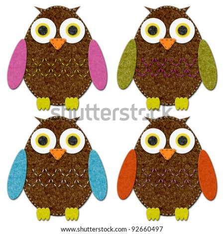 Felt Owl Set - stock photo