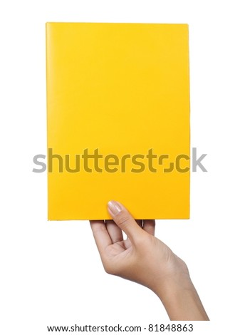 female hand holding a blank paper yellow isolated on white background