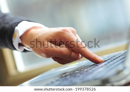 female hands on keyboard - stock photo