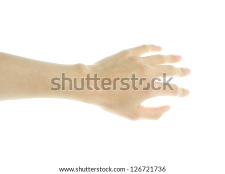 female hold hands isolated on white background