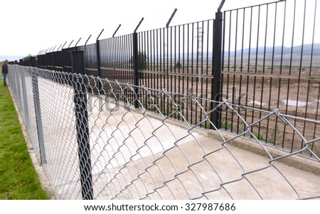 Fence and Razor wire to deter refugees, asylum seekers in Bulgaria, on Oct 13, 2015