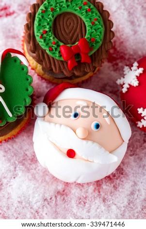 festive Christmas mini desserts with Christmas decorative elements - stock photo