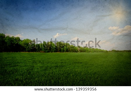 field under sky in grunge - stock photo