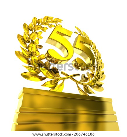55, fifty-five number in golden letters at a pedestrial with laurel wreath - stock photo