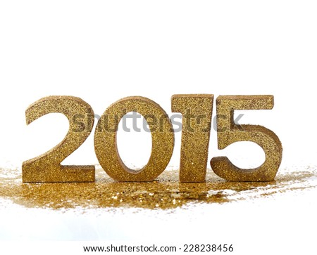 2015 figures on gold glitter and white background - stock photo
