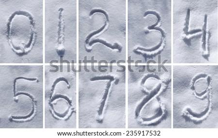 figures written on the snow - stock photo