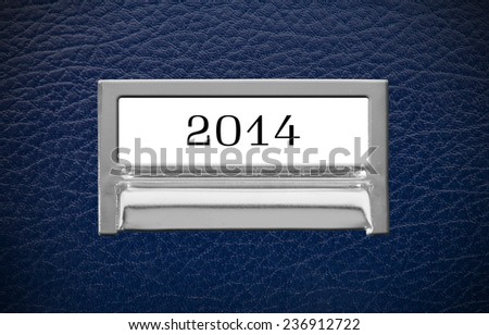 2014 File Drawer on leather background - stock photo