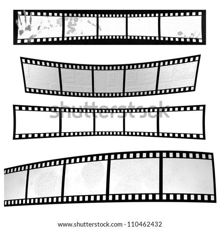 Film strip design element isolated on white - stock photo