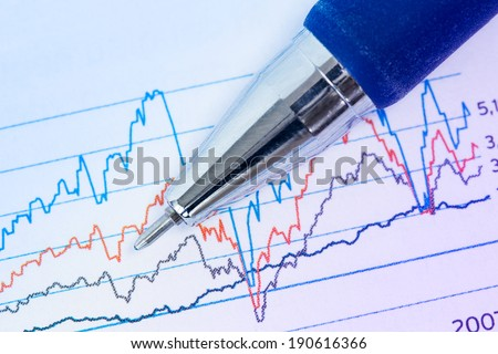 Financial graphs analysis with pen and printed chart