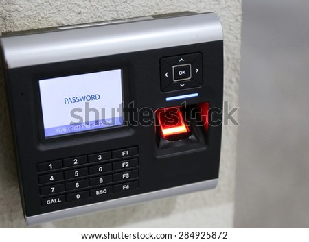 finger scanner for access password, door  - stock photo