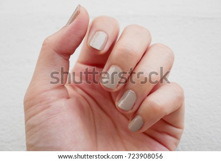 fingernail painted gray color lack of nutrients and do not make nail not shape and not care, this image can be use for health care concept