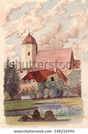 Finsterwalde Church, Watercolor Painting - stock photo