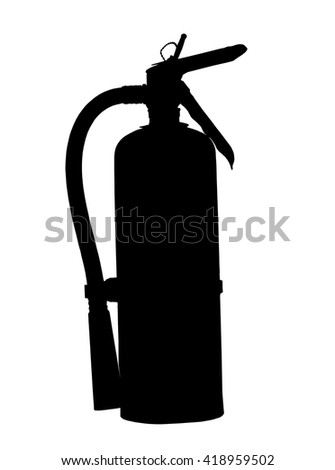 fire extinguisher silhouette isolated with clipping path at this size - stock photo