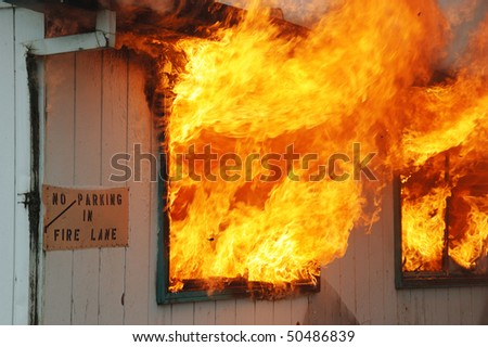 """Fire Lane And Structure Fire"" Douglas County Fire District #2 Burn to Learn, Hwy 99S, near Roseburg OR - stock photo"