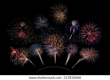 10 Firework Blasts on a Curve - 4th of July celebration in the United States - stock photo