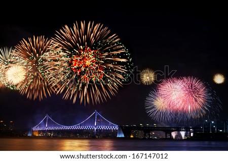 Fireworks at Gwangan Bridge - stock photo