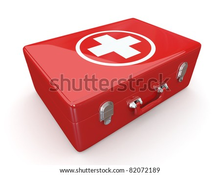 First aids. Medical Kit on white isolated background. 3d - stock photo