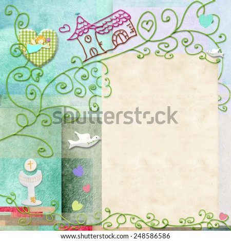 First Holy Communion invitation.Space to write message or add a photo - stock photo