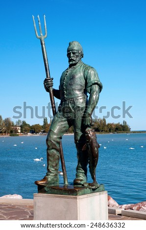 Fisherman's sculpture in Balatonfured at Lake Balaton, Hungary - stock photo