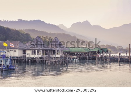 fishermans village , Salakphet ,Chang island, Thailand - stock photo