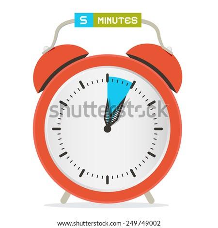 5 - Five Minutes Stop Watch - Alarm Clock Illustration  - stock photo