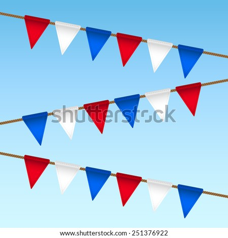 flag garland for usa independence day - stock photo