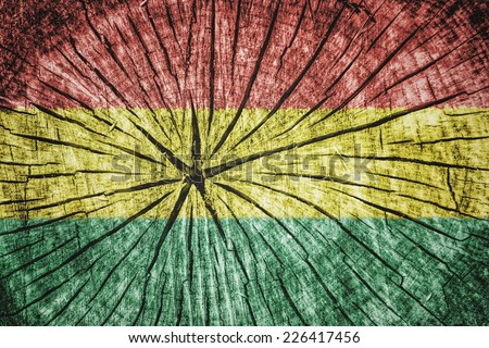 Flag of Bolivia on cracked wooden texture - stock photo