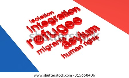 Flag of France with text associated with immigration. - stock photo