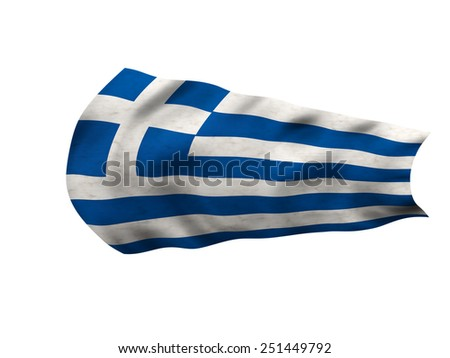 Flag of Greece in the wind - stock photo