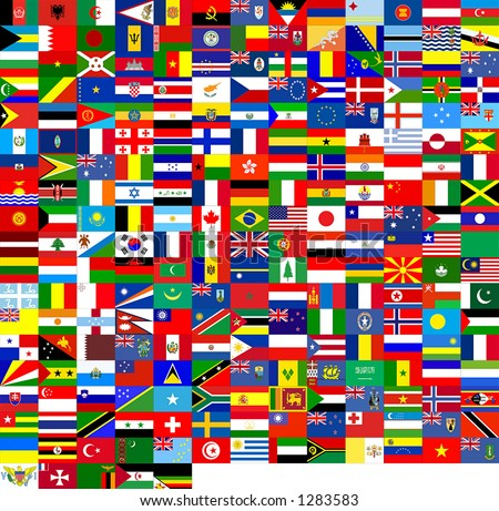240 flags of the world. It's good for texture 3D. - stock photo
