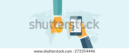 Flat background with hand and bank card. Online banking. Internet shopping. Web store and pay per click. - stock photo