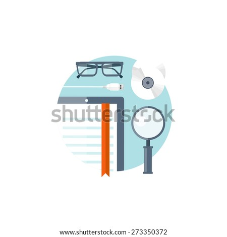 Flat background. Workplace. Tablet. E-book. Loupe and compact disk. Usb cable. Job online. - stock photo