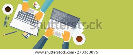 Flat header. Teamwork. Smart solutions. Programming and coding. - stock photo