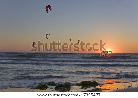 Flight of parachutes above the sea on a sunset