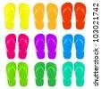 9 Flip Flops Set, Isolated On White Background - stock photo
