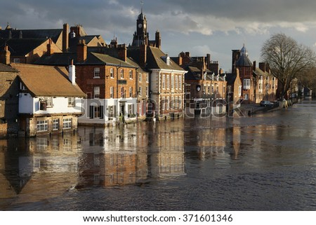 Flooding of River Ouse and riverside businesses in York, England.
