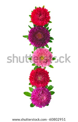 floral alphabet isolated on white background. letter I