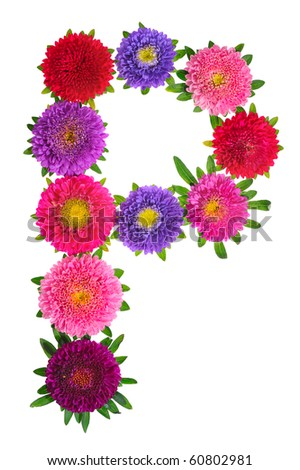 floral alphabet isolated on white background. letter P
