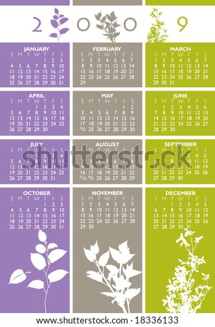 2009 floral calendar. With Space reserved for your logo and text.