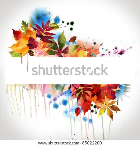 floral design, watercolor painting - stock photo