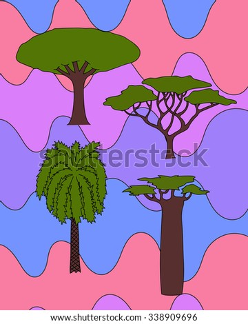 floral hand drawn african trees - date palm, acacia, baobab tree, dragon tree. isolated digital nature sketch  - stock photo