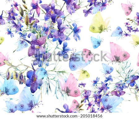 Floral seamless pattern. Summer flowers and Butterflies .Watercolor . - stock photo