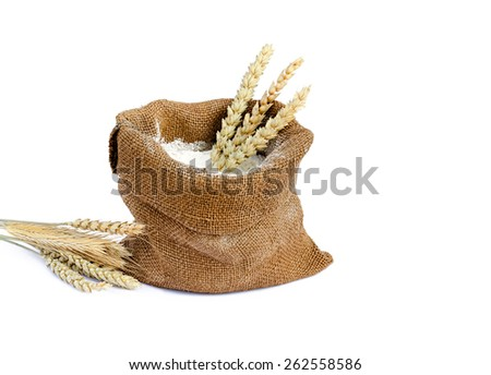 flour in a sack the isolated - stock photo