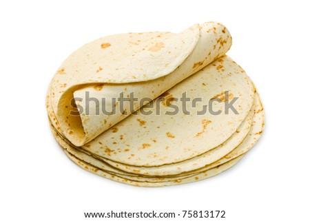 flour tortillas on white background - stock photo