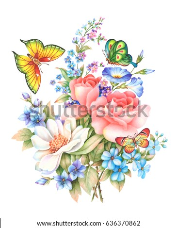 Flower butterflyhand drawn watercolor painting on stock - High resolution watercolor flowers ...