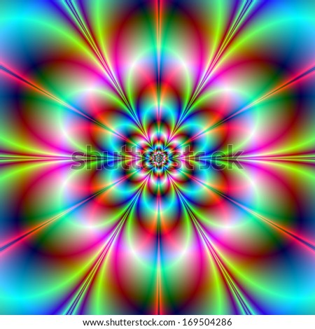 Flower Power / Digital abstract fractal image with a psychedelic flower design in turquoise pink red and blue.