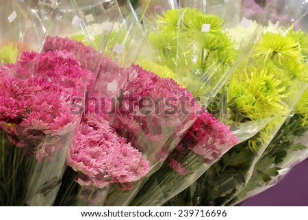 flower shop in market , flower shop in market , pink lily with plastic cover background in flower shop , export business background, - stock photo